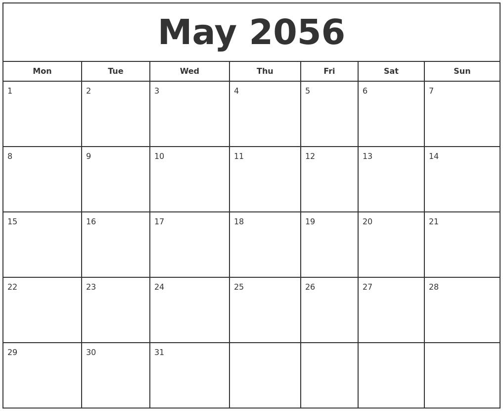 may 2056 print free calendar monday start