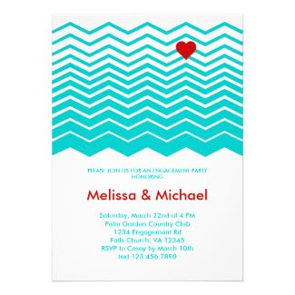 Chevron and Heart Engagement Party Invitation