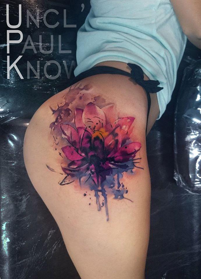 Watercolor Tattoo Lotus Flower On Girls Hip Best Tattoo Ideas