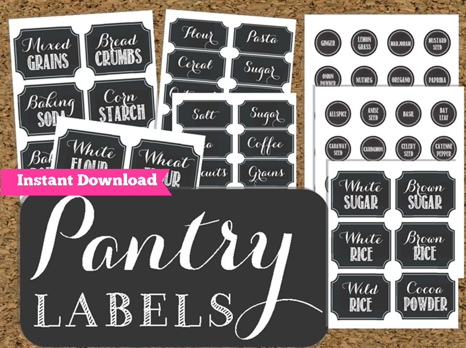 INSTANT DOWNLOAD Pantry Chalkboard Labels by HappyOrganizedLife