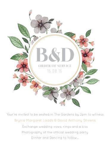 Floral Circle Invitation Set   DP   Order Of Service