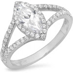 Brilliant Marquise Cut Halo Diamond Engagement / Anniversary Wedding Ring Solid 14k White Gold - 11 by Clara Pucci