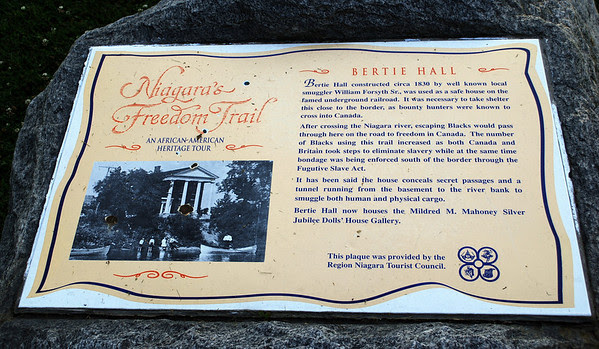 Historic plaque for Bertie Hall used as a safe house on the Underground Railroad.