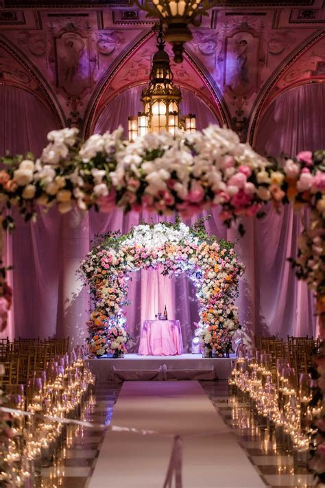 Ceremony Décor Photos   Flower Arches at Ballroom Ceremony