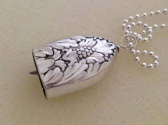 Knife Bell Pendant Marquise Silverware Jewelry Vintage Silverplate Knife