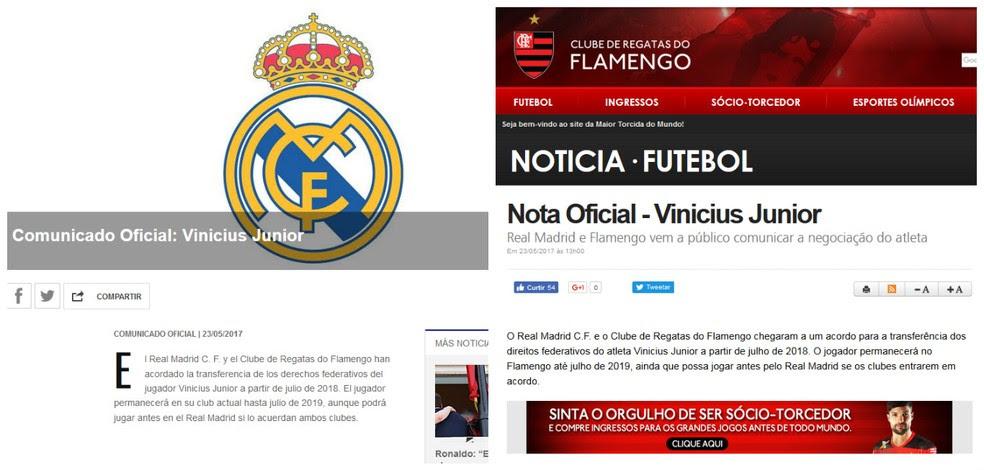 Anúncios de Real Madrid e Flamengo (Foto: Reprodução)