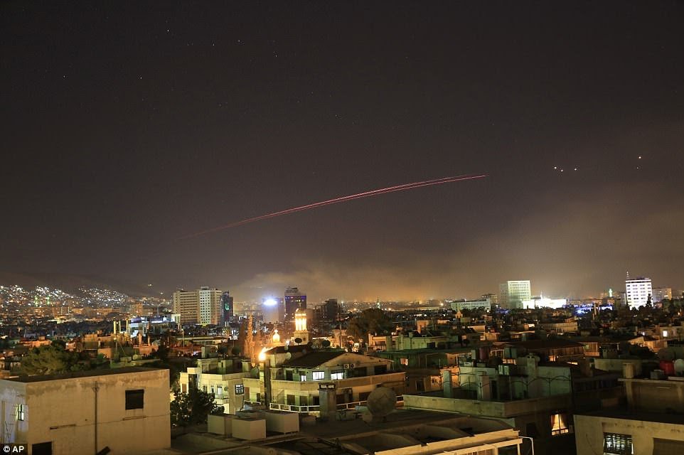 Damascus skies erupt with anti-aircraft fire as the U.S. launches an attack on Syria targeting different parts of the Syrian capital Damascus