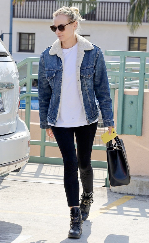 LE FASHION BLOG DIANE KRUGER SHEARLING SHERPA BORG LINED JEAN JACKET DENIM BLACK SKINNY PANTS JEANS FLAT STUDDED WRAP ANKLE BOOTS ROUND STUDDED SUNGLASSES WHITE TEE TSHIRT JASON WU BAG LEVI'S SHERPA JACKET HAIR SMILE MESSY TOP KNOT 2 photo LEFASHIONBLOGDIANEKRUGERSHEARLINGLINEDJEANJACKET2.png