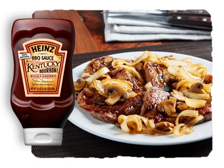 Strip Steak with Bourbon Onion-Mushroom Sauce