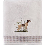 "Saturday Knight Ltd Adirondack Dogs Outdoor Life Woven End Hem Bath Towel - 27x50"" White"