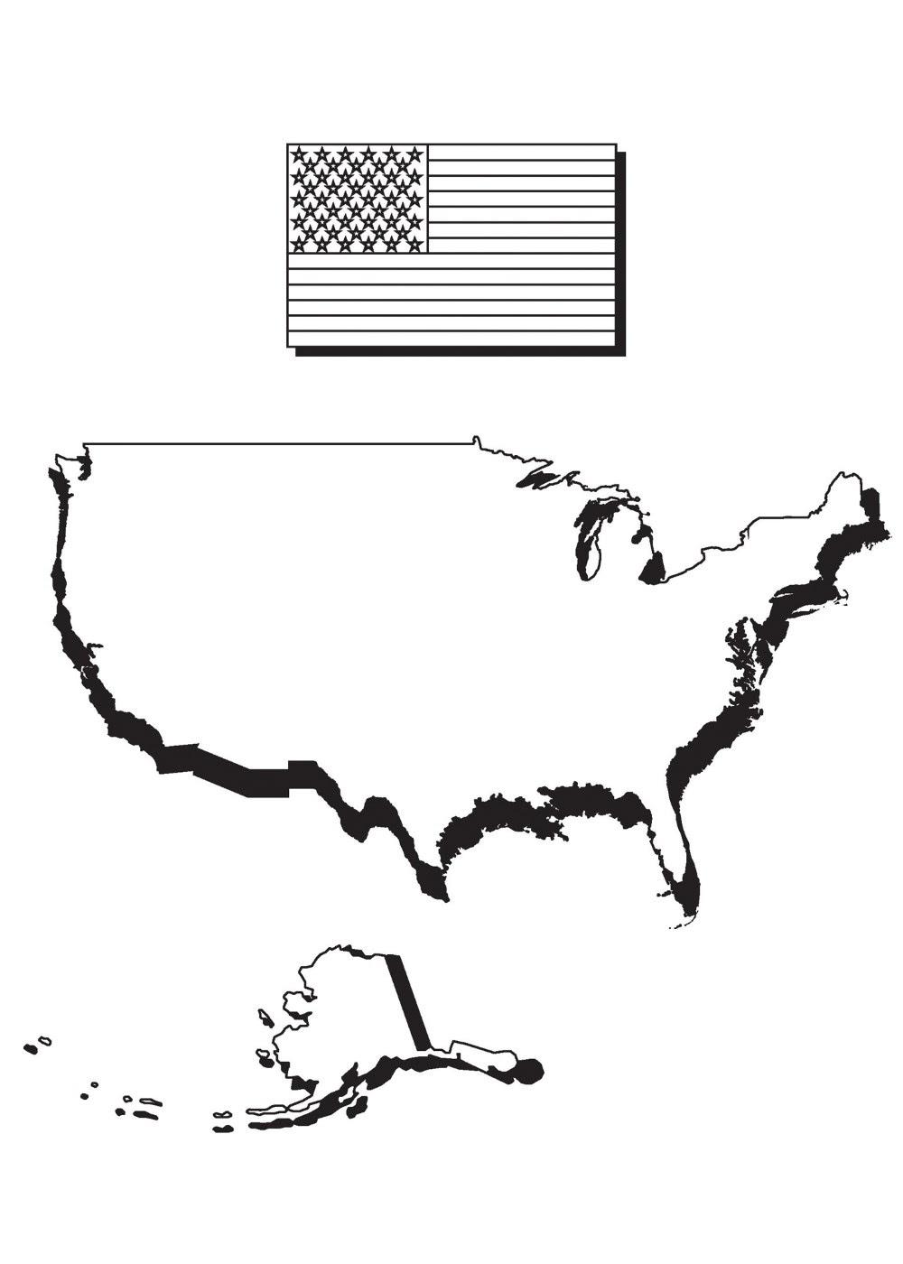 Boyama Sayfası Amerika Ve Bayrak Haritası