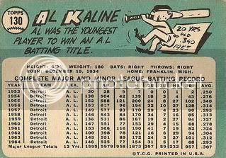 #130 Al Kaline (back)