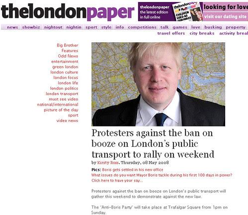 Protestors against ban on booze - London Paper Screengrab