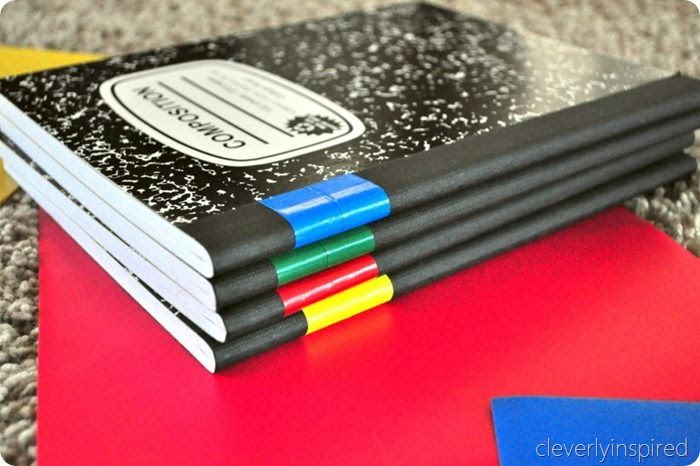 Use color tape to organize notebooks