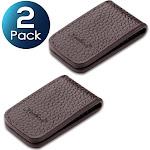 2 Pack Zodaca Brown New Genuine Leather Magnetic Slim Pocket Money Clip Holder, Black