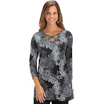 Collections Etc Women's Paisley Print Lattice V-Neck Tunic with 3/4 Sleeves BLACK LARGE