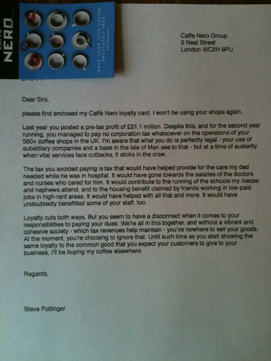 "steve pottinger on Twitter: ""This is why you shouldn't buy coffee from Caffe Nero (or Starbucks, for that matter) """