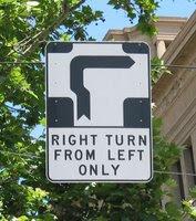 Hook turn sign in Melbourne