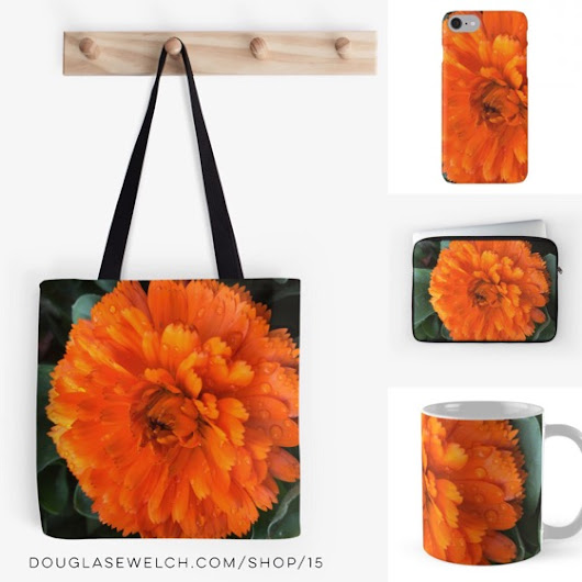 "My Word with Douglas E. Welch » Buy and gift these ""Marigold with Raindrops"" Totes, iPhone Cases, Laptop Sleeves and More!"