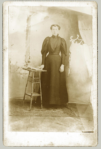 Cabinet Card woman and stool