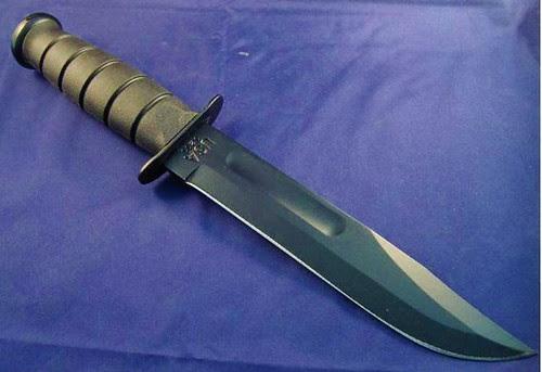 "KA-BAR 1213 Full Size Fighting Knife 7"" Black Plain Blade, Kraton G Handle, Kydex Sheath"
