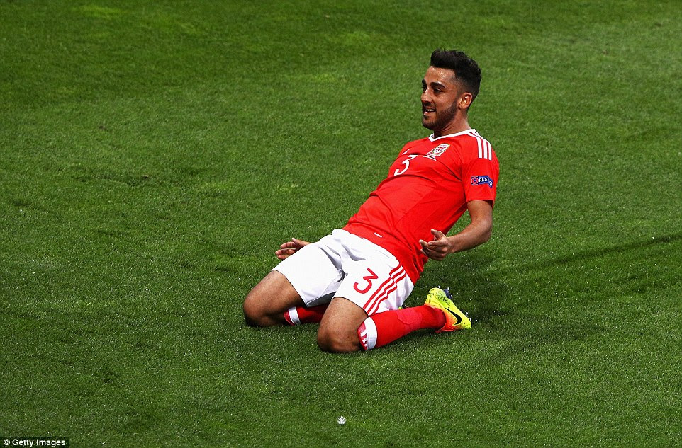 Swansea City's 27-year-old Ruthin-born left back Neil Taylor then grabbed his first goal for his country in the 20th minute