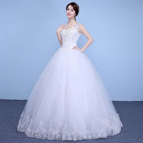 New Spring and Summer cheap white wedding frock lace up