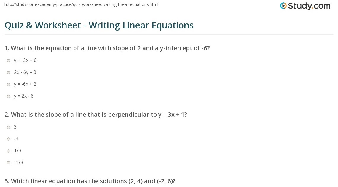 29 Linear Equations Worksheet With Answers - Worksheet ...