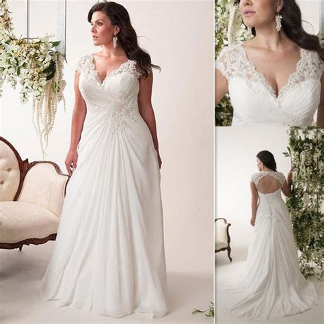 Plus Size Wedding Dresses Cheap V Neck Pleats Chiffon Long