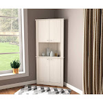 Tall Corner Storage Cabinet Washed Oak - Inval