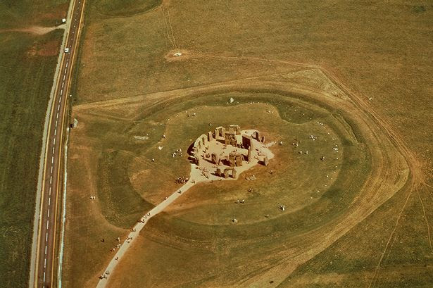 Aerial view of megalithic monument of Stonehenge