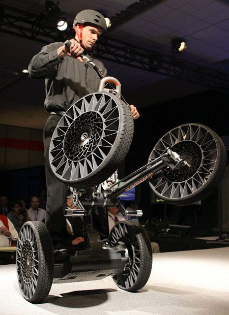 Segway Concept New Michelin Tweel Tires Are Displayed On The Segway Concept Centaur At The