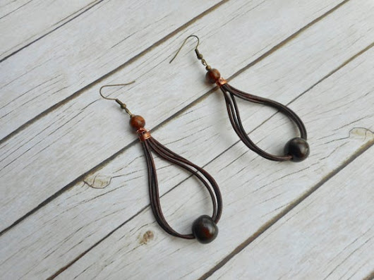 Distressed brown leather straps earrings wooden beads ladies