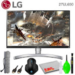 """LG 27UL650-W 27"""" 16:9 4K HDR FreeSync IPS Gaming Monitor Bundled with Surge Protector, Gaming Mouse and Cleaning Kit"""