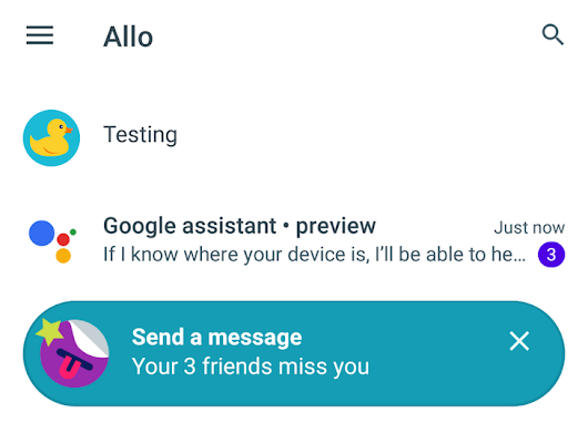 Google Allo doesn't seem to have a backup or cloud sync function (in the preview version)