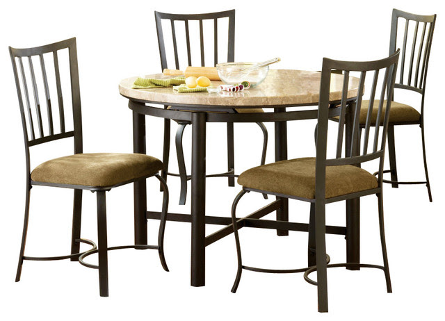 Steve Silver Paloma 5 Piece White Marble Top 42 Inch Round Dining Room Set  Contemporary