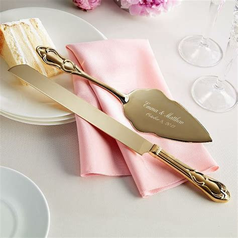 gold plated wedding cake knife and server   Wedding Board