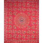 """Celestial Tapestry Cotton Bedspread 108"""" x 88"""" Full-Queen Red"""