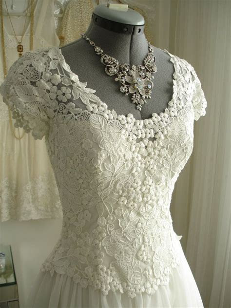 HOLD for ASHLEY Vintage Chiffon and Lace White Wedding
