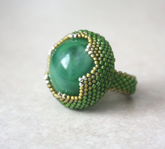 """Green Garden Snake Beaded Bezel Ring with Vintage Green Marbled Lucite Cabochon"" $25.00 (BevaStyles Jewelry Shop) http://www.etsy.com/shop/BevaStyles?ref=pr_shop#"