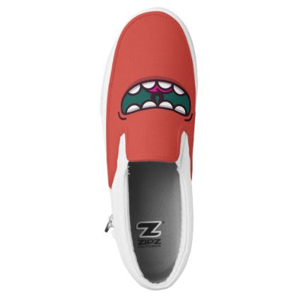 Monogram. Funny Big Mouth Monster. Slip-On Sneakers