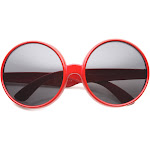 Womens Round Sunglasses With UV400 Protected Composite Lens, Red / Lavender