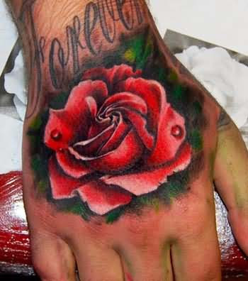 Red Rose Tattoo On Hand