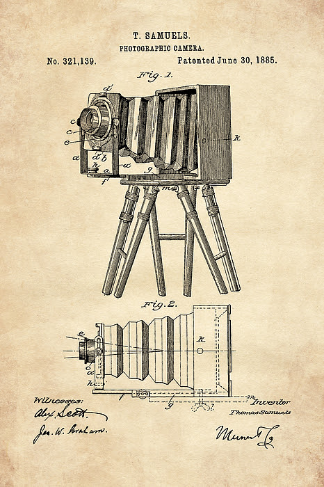1885 Camera Us Patent Invention Drawing - Vintage Tan by Todd Aaron