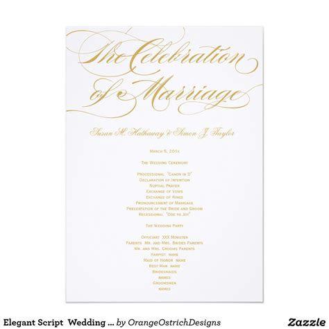 Elegant Script Wedding Program   Gold 5x7 Paper Invitation