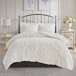 Madison Park Aeriela Tufted Cotton Chenille Damask Comforter Set White King - Cal King
