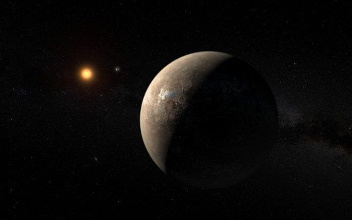 An artist's impression of proxima b in space
