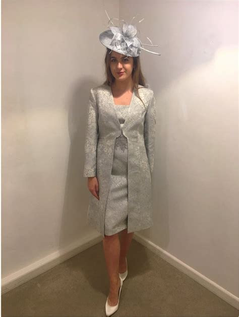 Izabella Coat And Matching Dress With Lace Trim Silver