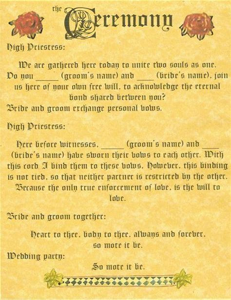 "BOOK OF SHADOWS PAGE ""Handfasting and Ceremony"" WICCA"