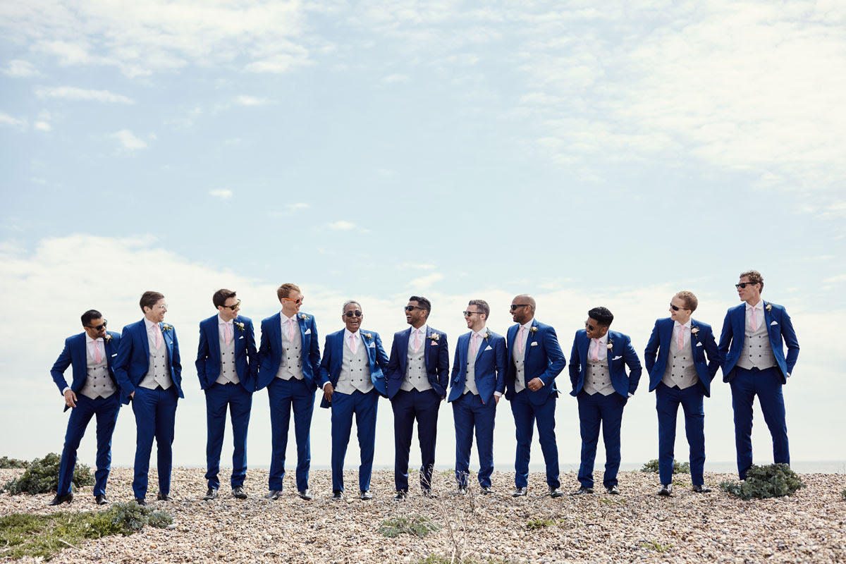 Groom and Ushers on beach wedding, Thorpeness, Suffolk - helloromancephotography.com